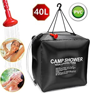ASANMU Solar Shower Bag for Camping, 40L Solar Heating Bag with Removable Hose and Switchable Shower Head Portable Camping Shower Bag for Beach Swimming Outdoor Traveling Hiking Climbing Fishing