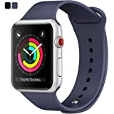 FNOVA コンパチブル Apple watchバンド シリコン製 時計バンド 腕時計用ベルト 替えベルト   ブラック&ブルー 38mm&42mm 1年メーカー品質保証