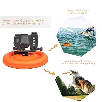 Pet Goma Frisbee redondo flotante para deportes de agua accesorios de la cámara para GoPro Hero ...