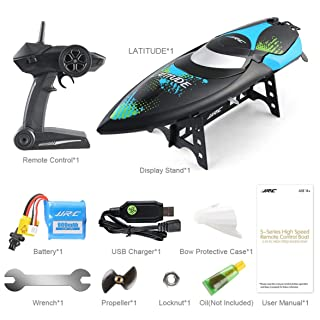 Kongqiabona JJRC S3 2.4GHz RC Speedboat spazzolato 2 Canali High Speed ​​Mini Racing Boat Impermeabile USB Ricarica RTR Speedboat Toy