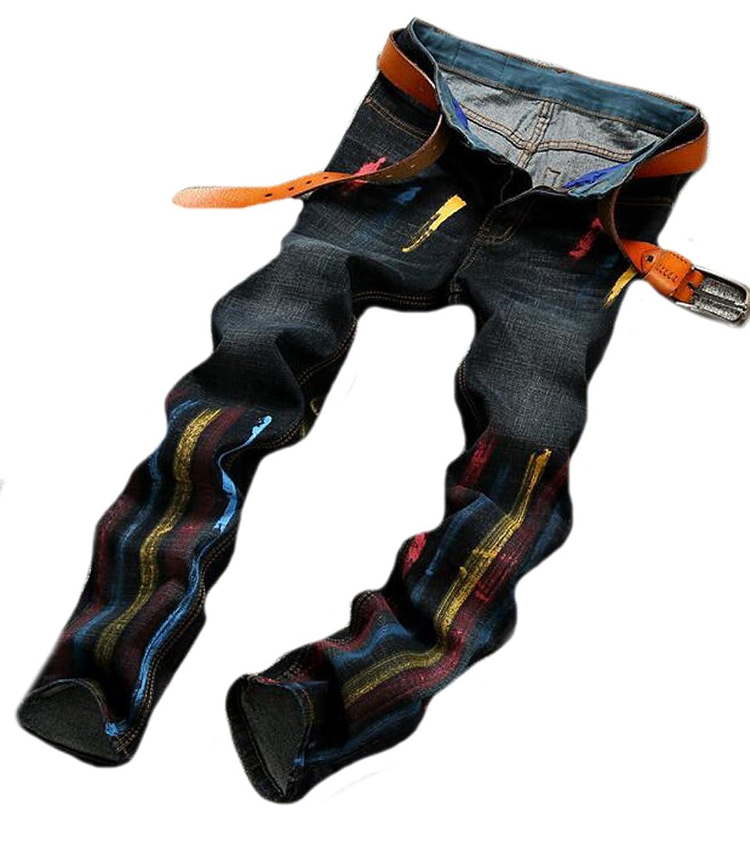 OULIU Mens Hip Hop Street Style Denim Jean Pants Without Belt