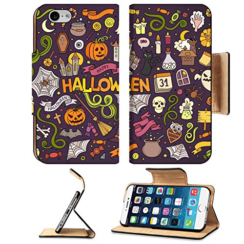Luxlady Premium Apple iPhone 6 iPhone 6S Flip Pu Leather Wallet Case IMAGE ID: 44866608 Colorful vector hand drawn Doodle cartoon set of objects and symbols on the Halloween (Halloween Cemetery Ideas)