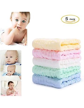 S&G Top 5 Pieza Muselinas Organicas para Bebe, Toalla Facial Infantil, 100% Algodón
