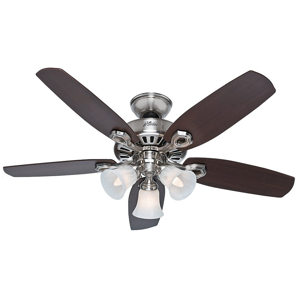 Hunter 52106 Builder Small Room 42-Inch Brushed Nickel Ceiling Fan with Five Brazilian Cherry/Harvest Mahogany Blades and a Light Kit