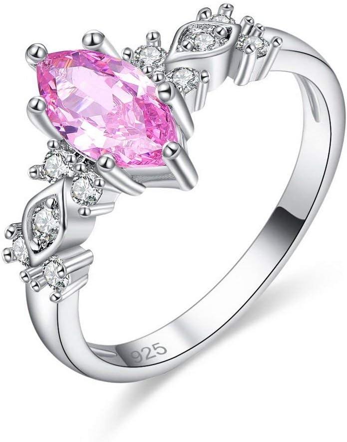 Cremación Memorial Anillo de circonita cúbica rosa brillante Diamantes de imitación Platino plateado Compromiso for mujeres, Tamaño del anillo: L, Nombre del color: Rosa Cremation Jewelry Collar con C