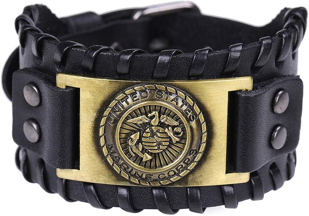 TEAMER Marine Corps Metal Weave Leather Bracelet Seagull Anchor Bangle Gift for Men Sailor