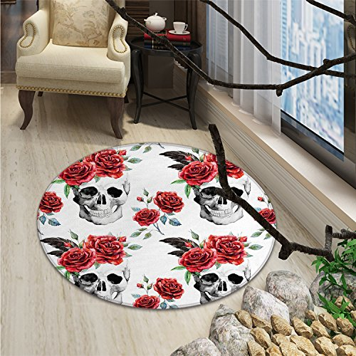 Rose Round Area Rug Watercolor Art Style Skull