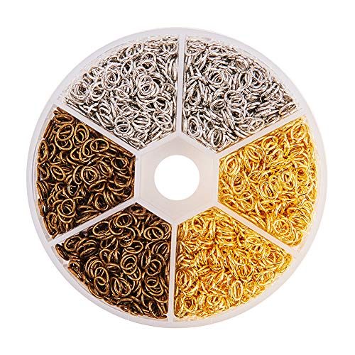 Chainmail Wire - PandaHall Elite 2550 Pcs 3 Colors 6x4mm Iron Oval Open Jump Rings Chainmail Link Wire 21-Gauge for Jewelry Findings