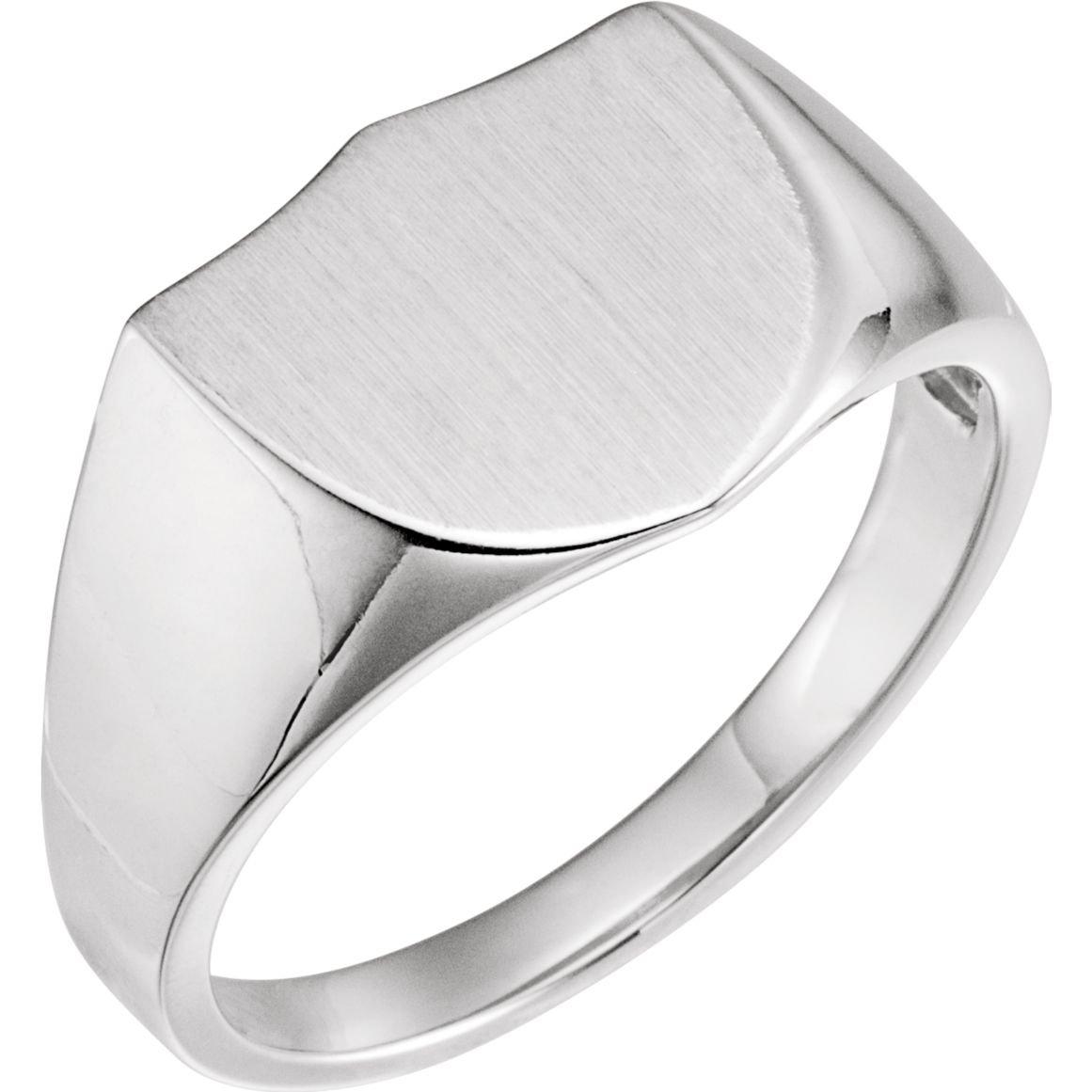 Size 11 Bonyak Jewelry Sterling Silver 14 mm Shield Signet Ring