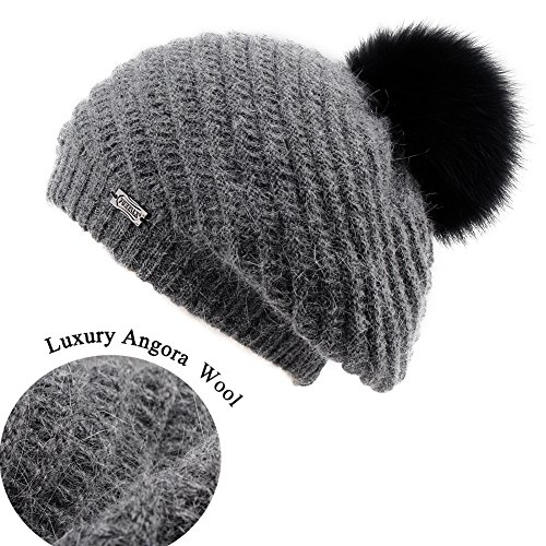 FURTALK French Beret Knit Hat Angora Wool Winter Beanie Cap Real Fur Pom Pom Hats Original (Dark Grey Black)