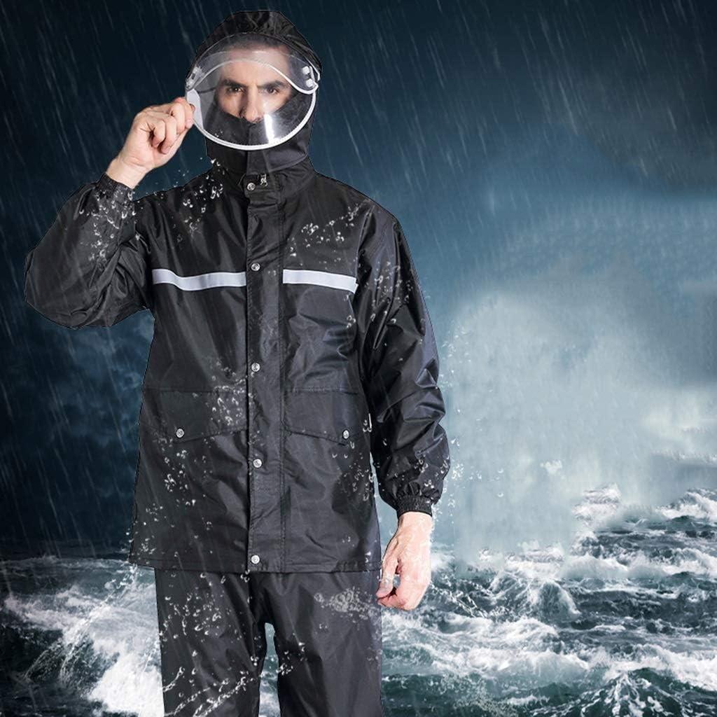Chubasquero A prueba de agua de lluvia pantalones Oxford Tela impermeable de los hombres impermeable al aire libre del montar a caballo del poncho con capucha Dividir Traje fácil de llevar ropa de tra