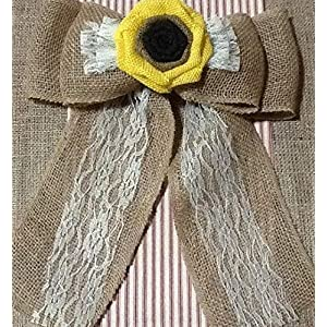 12' Wide Burlap Sunflower Lace Tulle Pew Chair Bow Rustic Wedding Reception Venue Decor Wreath Ornament 1