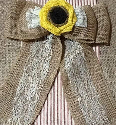 12-Wide-Burlap-Sunflower-Lace-Tulle-Pew-Chair-Bow-Rustic-Wedding-Reception-Venue-Decor-Wreath-Ornament