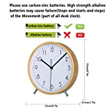 KAMEISHI 8 Inch Wood Desk Clocks Battery Operated