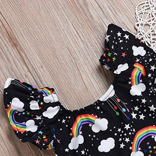 NUWFOR Infant Baby Kid Newborn Cartoon Rainbow Printed Ruffle Romper Bodysuit Outfits(Black,3-6Months) by NUWFOR (Image #2)