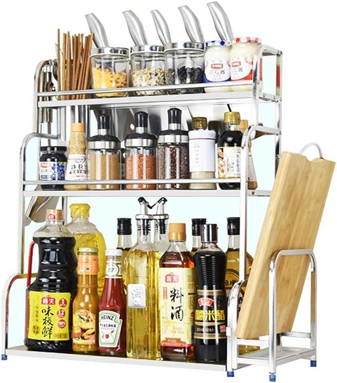 scaffale portaspezie in Acciaio Inox per lattine e Bottiglie WT-JIAJU Acciaio Inossidabile C 50/×43CM