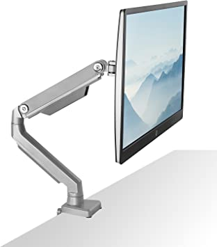 Mount-It! Single Monitor Arm Mount | Desk Stand | Full Motion Height Adjustable Articulating Mechanical Spring Arm | Fits 24 27 29 30 32 Inch VESA Compatible Computer Screen | C-Clamp and Grommet Base
