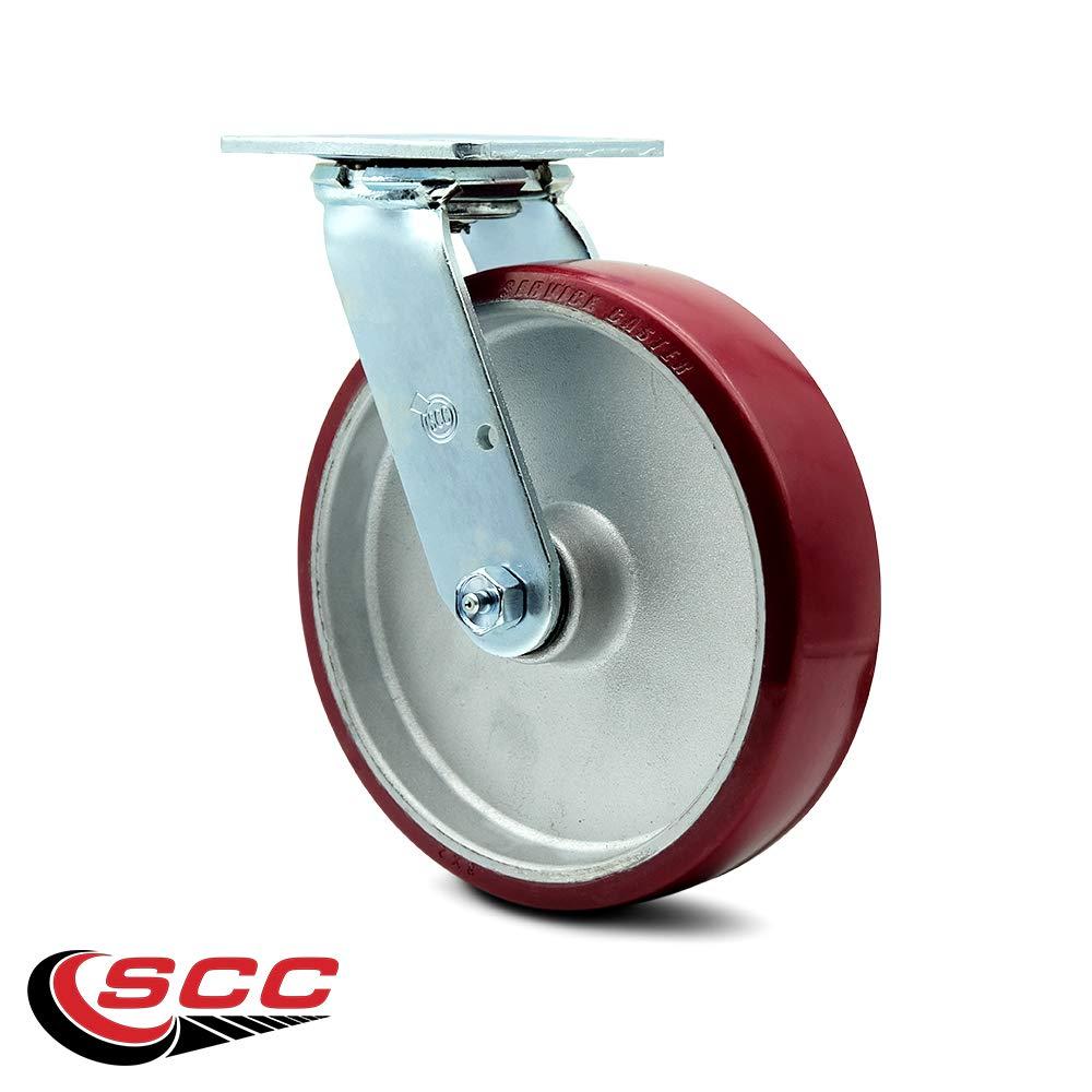 Service Caster - 8'' x 2'' Polyurethane on Aluminum Wheel Swivel Caster - 1,250lbs/Caster