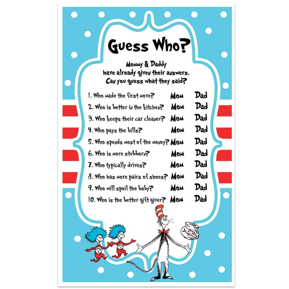 Amazon.com: Dr. Seuss Baby Shower Game - Guess Who Mommy or Daddy: Handmade