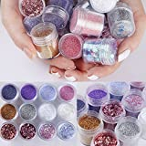 12Boxes/Set Nail Art Sequins Glitter Sheets Tips Mixed Powder...