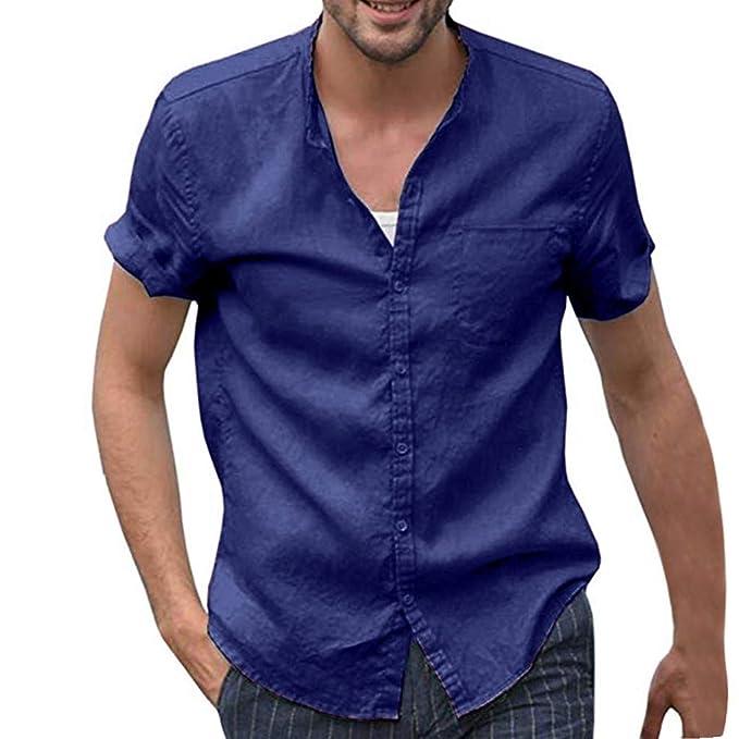 Doreleven ❣ Camisa de Lino con Botón para Hombre Camiseta ...
