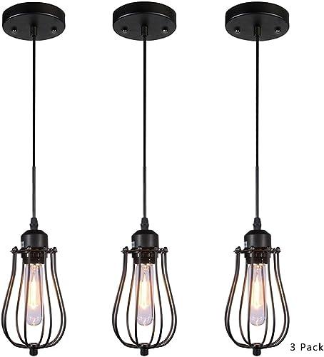 AMUMO Pendant Light Ceiling Mounted Chandelier Fixture, Kitchen Lighting Hanging Light Modern Industrial Edison Vintage Style 3 Pack Black NGDD-602
