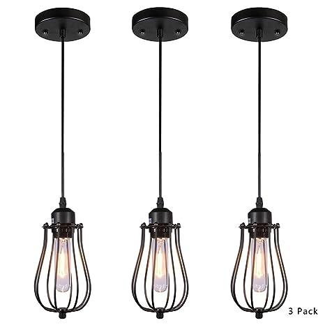 AMUMO Pendant Light Ceiling Mounted Chandelier Fixture, Kitchen Lighting  Hanging Light Modern Industrial Edison Vintage Style (3 Pack Black  NGDD-602) ...
