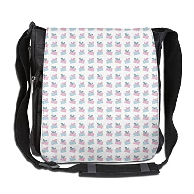 Lovebbag Gift Boxes Pattern In Soft Blue And Pink Tones On White Background Crossbody Messenger Bag