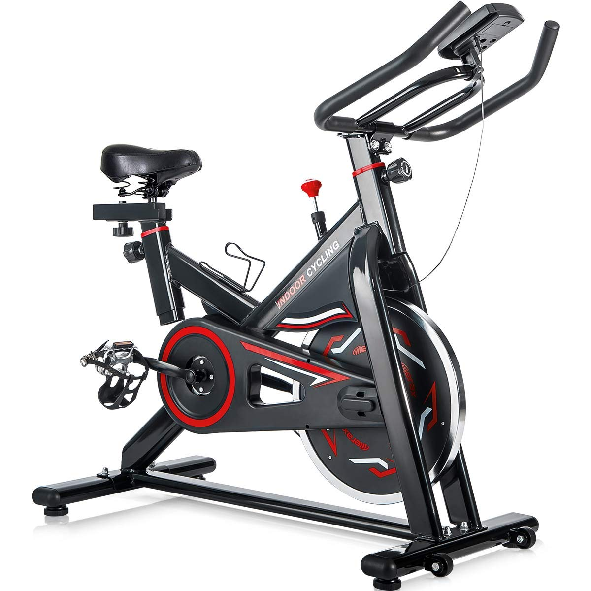 Merax Deluxe Indoor Cycling Bike Cycle Trainer Exercise Bicycle (Black & Red)