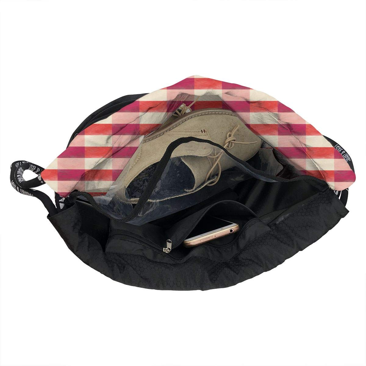 Old Gingham Drawstring Backpack Sports Athletic Gym Cinch Sack String Storage Bags for Hiking Travel Beach