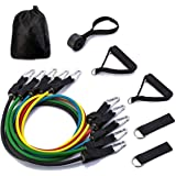 Resistance Bands,5 Stackable Exercise Bands Workout Bands with Door Anchor,Handles,Ankle Straps,Exercise Chart and Carry Bag for Resistance Training,Physical Therapy,Home Workouts,Yoga