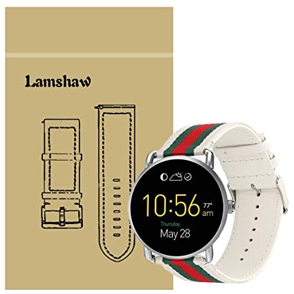 Lamshaw Band for Fossil Q Wander, Nylon with Leather Replacement Straps for Fossil Q Wander Gen 1/Gen 2 Smartwatch (Nylon with Leather-White)