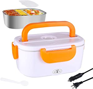 Electric Lunch Box Food Heater,12V & 110V 1.5L Portable Food Warmer Heater for Car and Work heated lunch box warmer with Removable 304 Stainless Steel Food Container,Spoon and Compartment Included