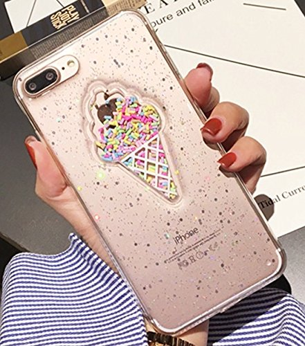 iPhone 6/6S Case,Blingy's Ice Cream Cone Style with Sprinkles Soft Rubber TPU Case for Apple iPhone 6/6S (Clear Ice Cream)