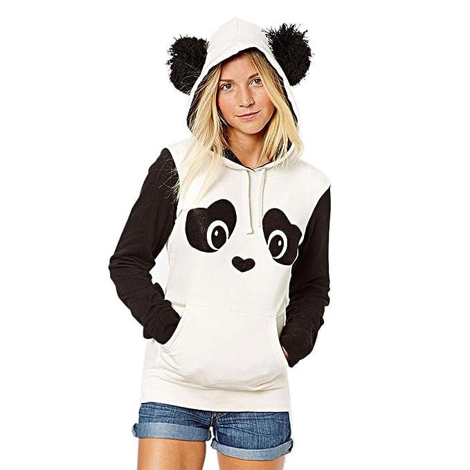 Mumuj Niedlich Damen Hoodie Schön Mädchen Weiß Panda Stil