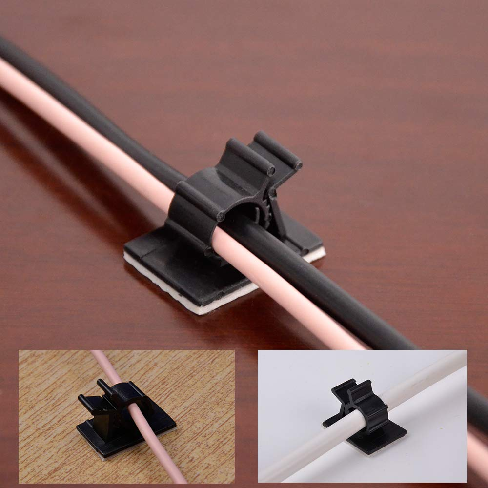 SHiZAK 100 Pack Adjustable Cable Tie Clips Adhesive Nylon Wire Clamps for Car, Home and Office, Black