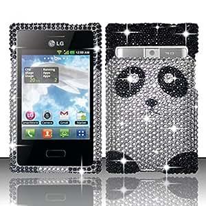 For LG Optimus Logic L35g / Dynamic L38c Full Diamond Design Case - Panda Bear