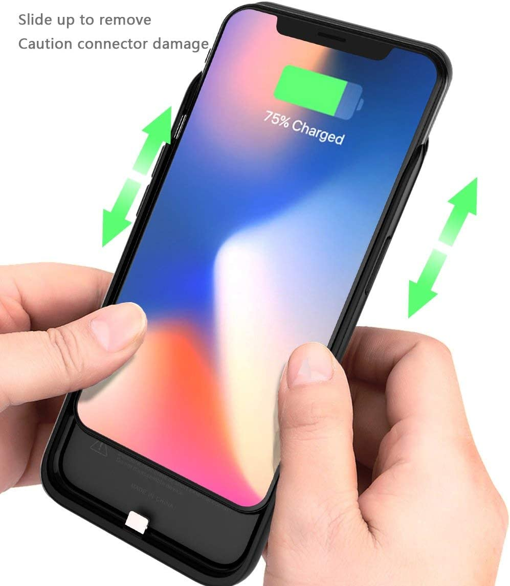 AQESO iPhoneX Wireless Rechargeable Battery Case 6000mAh Extended Portable Lightning Port Wireless Charging Case for iPhone X