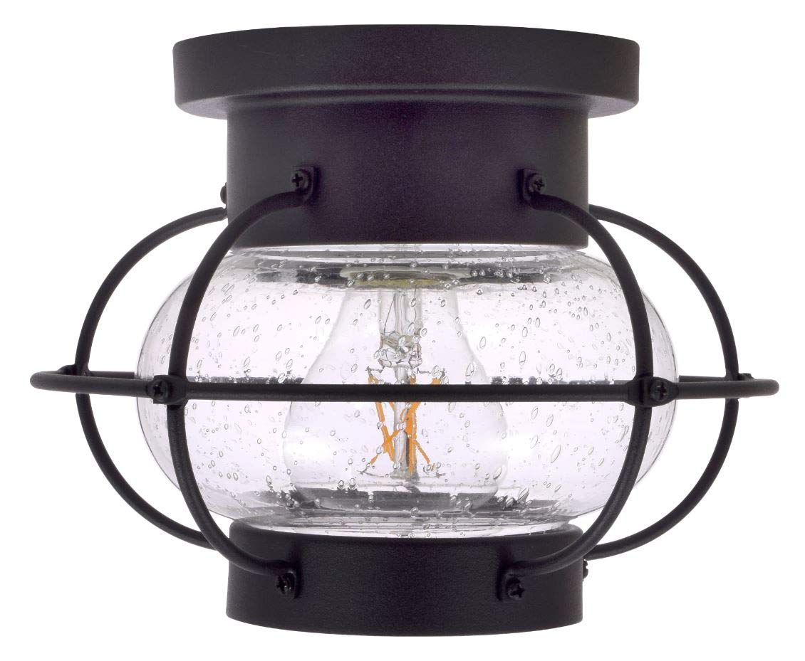 SYLVANIA General Lighting Sylvania 60115 Essex Cage Light, LED, Semi-Flush Mount, Dimmable Bulb Included Vintage Fixture, Antique Black