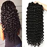 Jaycee Hair Grade 8A Brazilian Deep Wave 3 Bundles 8 8 10 Inches 300grams Unprocessed Human Hair Extensions Wet and Wavy Human Hair Natural Black