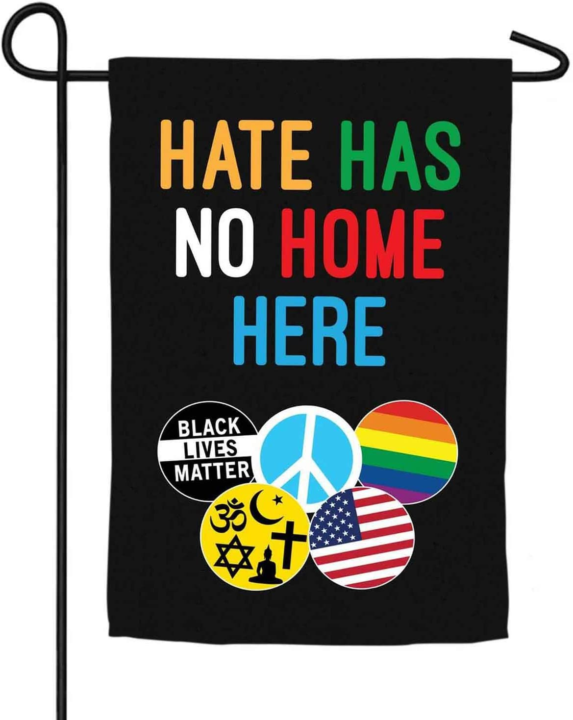 CZQHFLAU Hate Has No Home Here In This House We Believe Peace Equality Farmhouse Yard Outdoor Decoration Burlap Garden Flag 12.5 x 18 Inch Double Sided