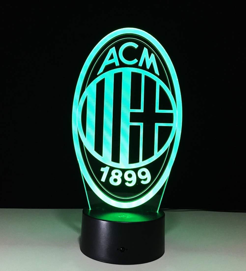 3D Nachtlicht AC Milan LED Energiesparlampe 7 Farben Nachttischbeleuchtung schwarzer Sockel Schlafzimmer Bar-Dekoration,16colorremotecontrol