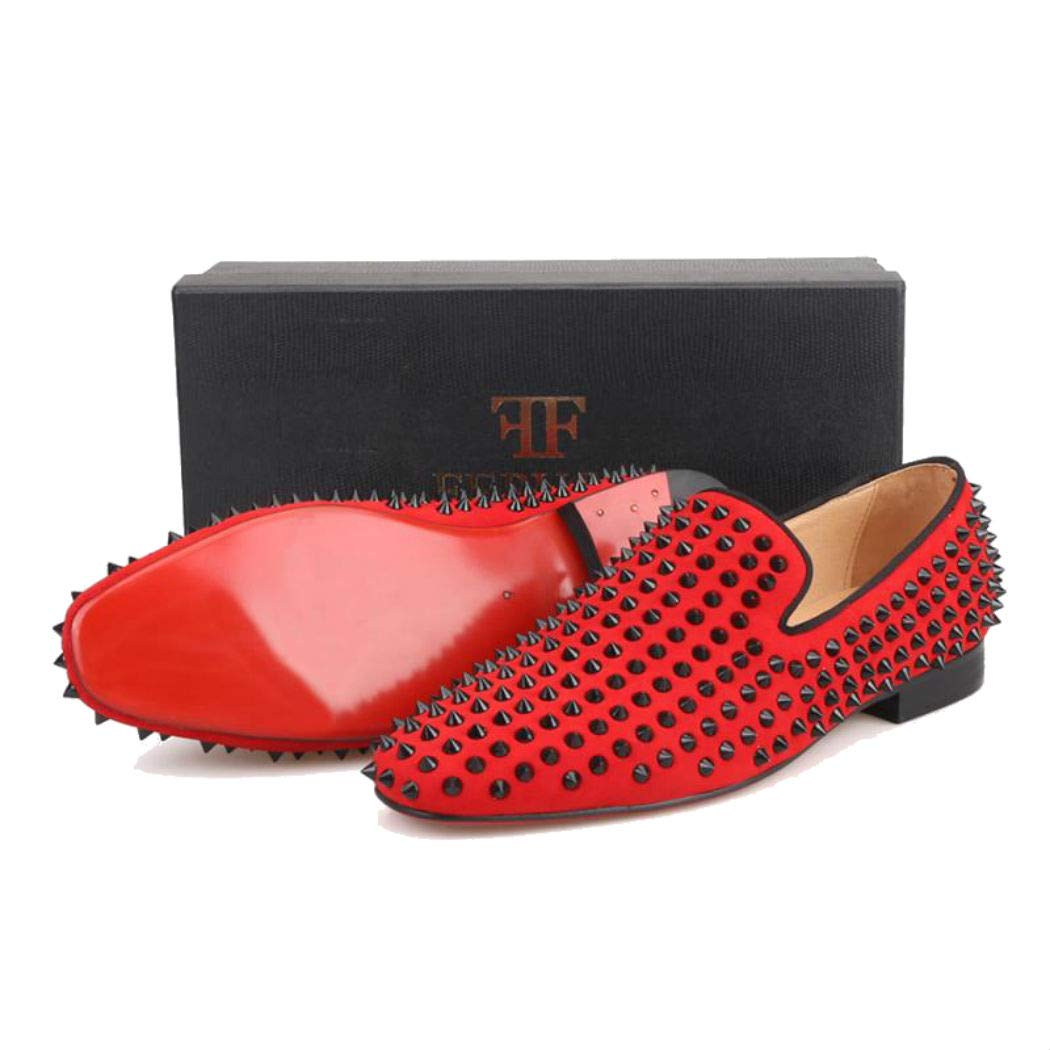 FERUCCI Men Red Velvet Slippers Loafers Flat with Black Spikes Rivets