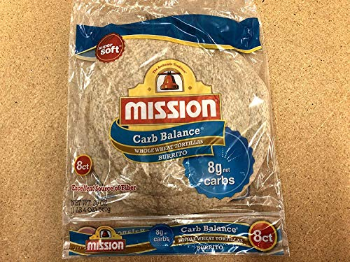 Mission Carb Balance, Whole Wheat, Burrito Size, 8 Per Package, (Pack of 4)