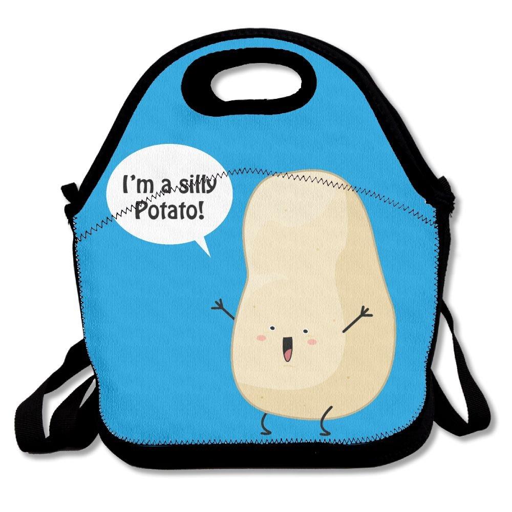 Cute Cartoon I ' m a Silly PotatoランチバッグInsulated旅行ピクニック弁当箱トートバッグHandbag with Shoulderストラップレディースティーン女の子子供用大人 B076CM29BL