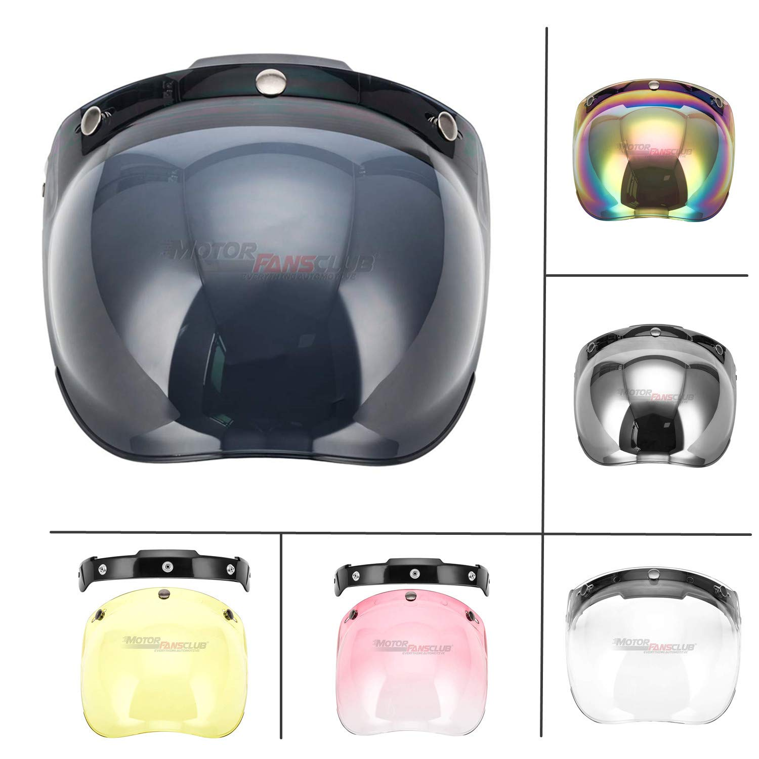 Clear Motorcycle Helmets 3//4 Face 3 Snap Flip Up Visor Shield with Lens
