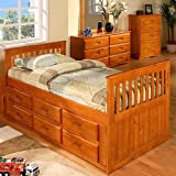 Discovery World Furniture Rake Bed with 6 Drawers, Twin, Honey