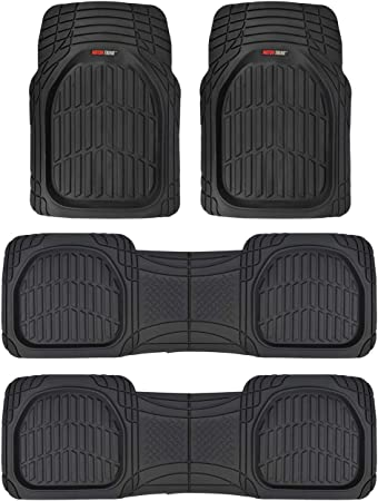 RUGGED TUFF FLOOR MATS UNIVERSAL NEW 6 PCS BLACK ALL WEATHER HEAVY DUTY 3RD ROW