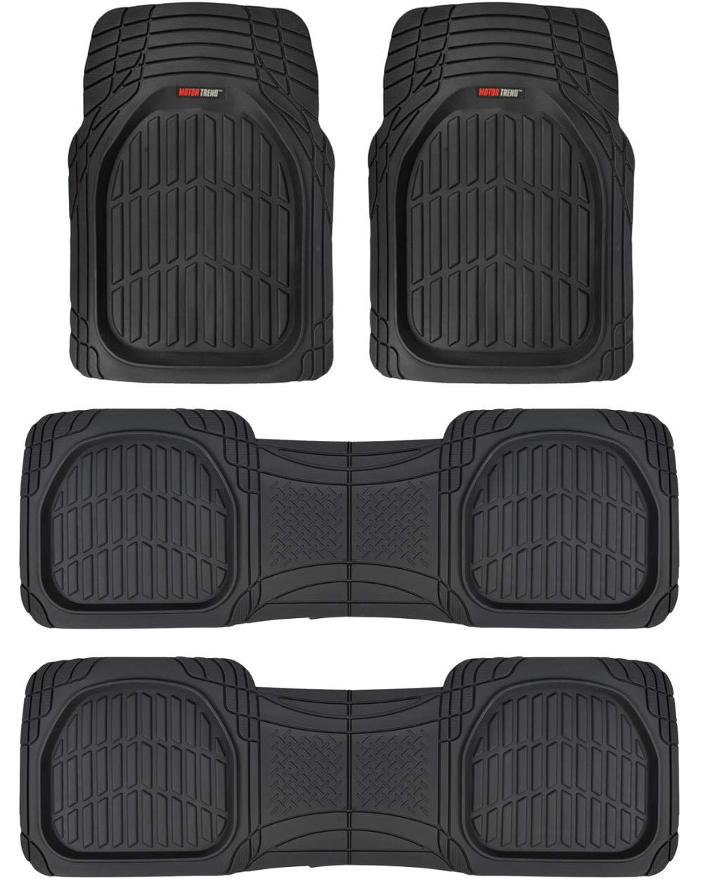 Motor Trend MT-923-920 Black FlexTough Contour Liners-Deep Dish Heavy Duty Rubber Floor Mats for 3 Row Car SUV Truck /& Van-All Weather Protection