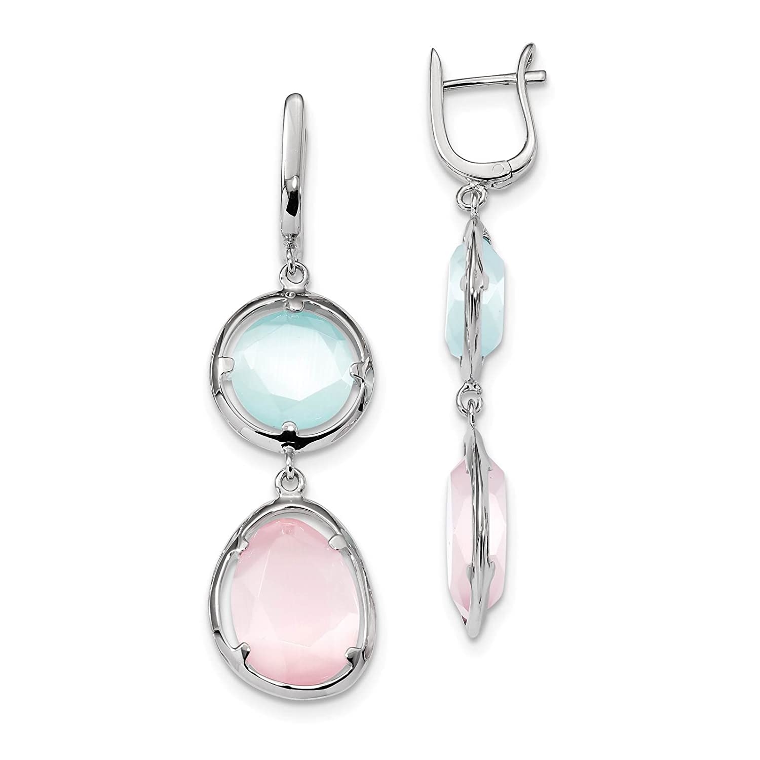 925 Sterling Silver Rhodium-plated Pink /& Blue Stone Hinged Earrings